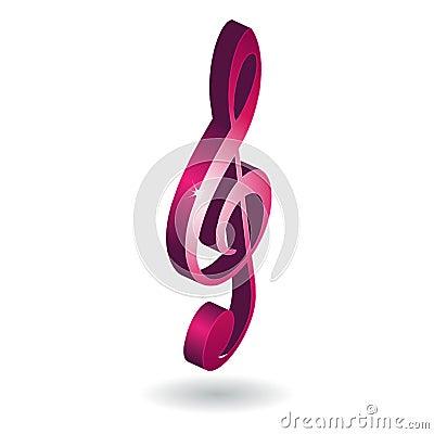 3D music note symbol