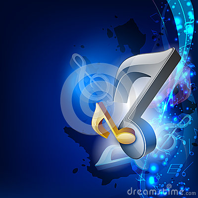 3d Music Notes On Blue Wave Background Royalty Free Stock