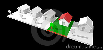 3d neighborhood houses.