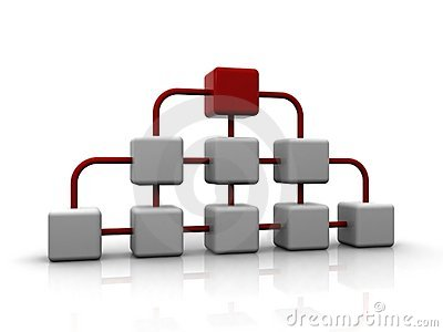 3d network of white cubes with red one on top