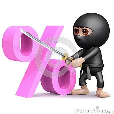 Free 3d Ninja Percent Royalty Free Stock Image - 46139746