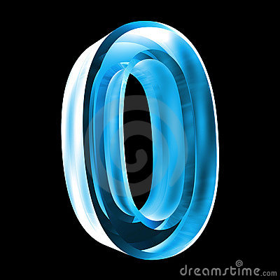 3d number 0 in blue glass stock images image 6205594