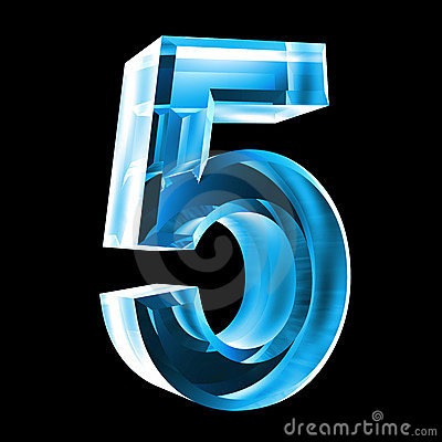 3d number 5 in blue glass stock photo image 6205630