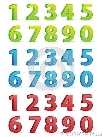 3D Numbers Set