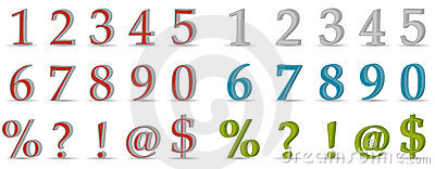 3D numbers and symbols