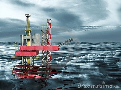 3d Oil Rig Drilling Platform, Ocean and Clouds