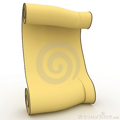 3d old yellow blank scroll