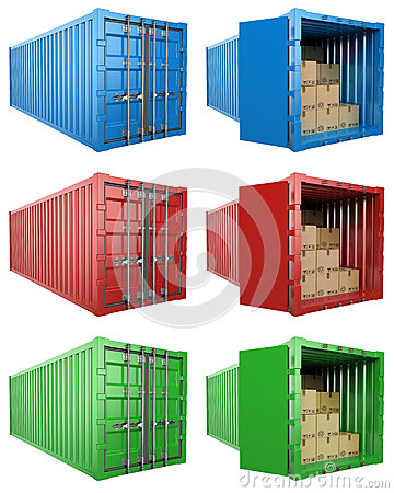 Free 3D Open And Close Container With Cardboard Boxes Stock Photos - 59926233