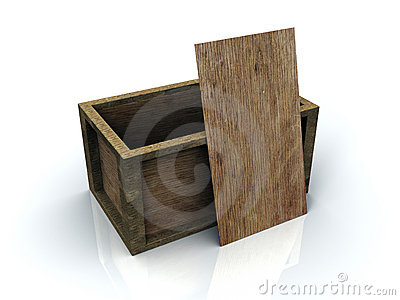 3D Open Wooden Box