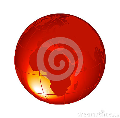 Free 3d Orange Globe Isolated On White Background Vector Stock Image - 43163441