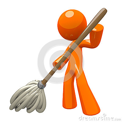 3d Orange Man Mopping