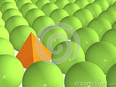 3d orange pyramid among green spheres