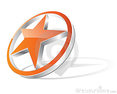 3d orange star - logo