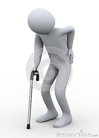 3d oude mens die met stok loopt