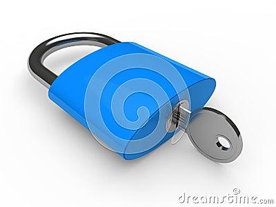 3d padlock blue
