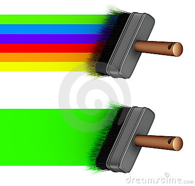 3d paint brush painting a rainbow green line