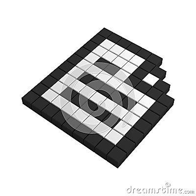 3d paper pixel icon