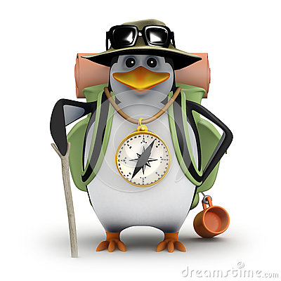 Free 3d Penguin Goes Hiking Stock Photography - 38102902