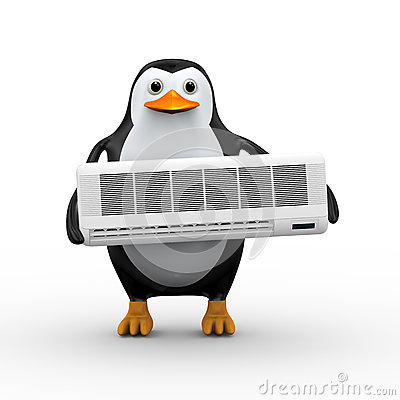 Free 3d Penguin Holding Split Royalty Free Stock Photography - 64563697