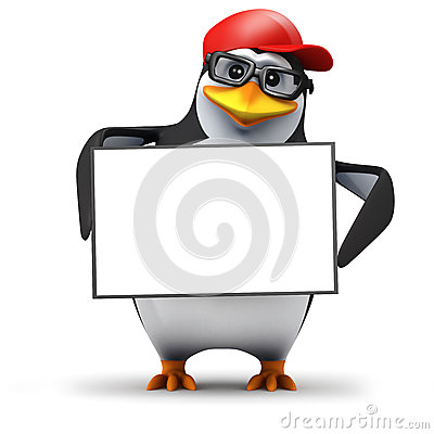 Free 3d Penguin Holds A Blank Banner Royalty Free Stock Photography - 38730917