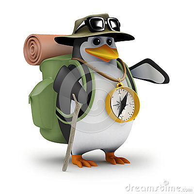 Free 3d Penguin Is Off Hiking Again Stock Photography - 45917702