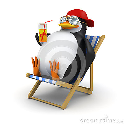 Free 3d Penguin Relaxes In Deckchair Stock Photo - 38272840