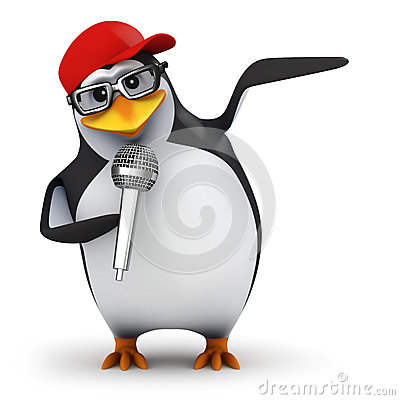 Free 3d Penguin Sings Stock Photography - 38731272
