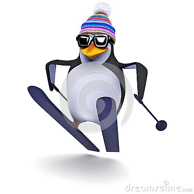 Free 3d Penguin Ski Jump Stock Photos - 43767343