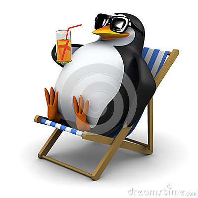 Free 3d Penguin Sunbathes With A Drink Royalty Free Stock Photos - 44309328