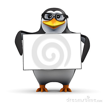 Free 3d Penguin With Blank Banner Stock Image - 41641861