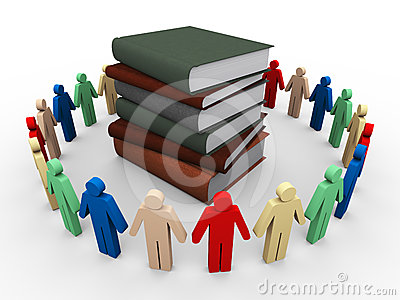3d people around books