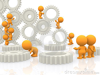 3D people assembling gears