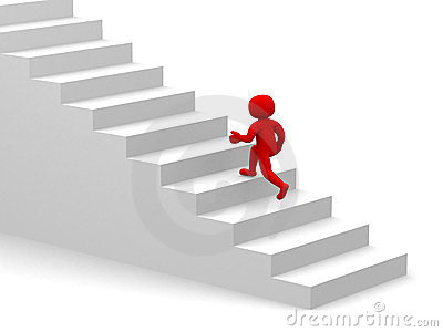 3d people climb the staircase - stair