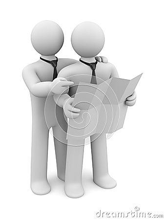 3d people discuss document