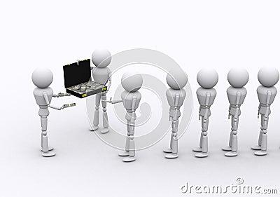 3D people dispense money.