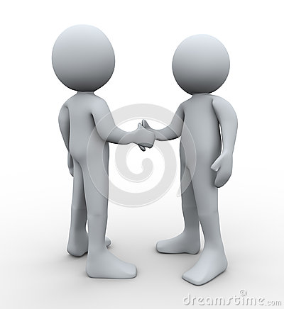 3d people handshake