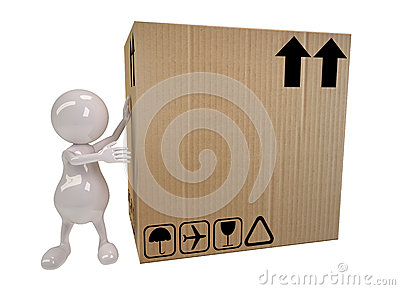 3d people man shows on big cardboard box