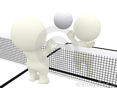 3D people playing volleyball