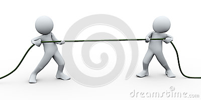 3d people pulling rope