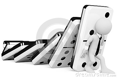 3D people. Stopping a chain reaction of dominoes