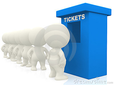3D people waiting for tickets