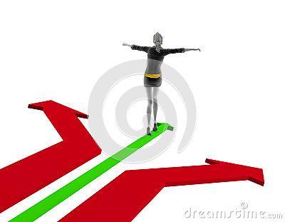 3d people woman walking on a green arrow