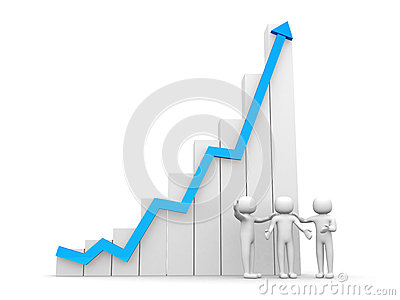 3d person arrow growth success business red diagram