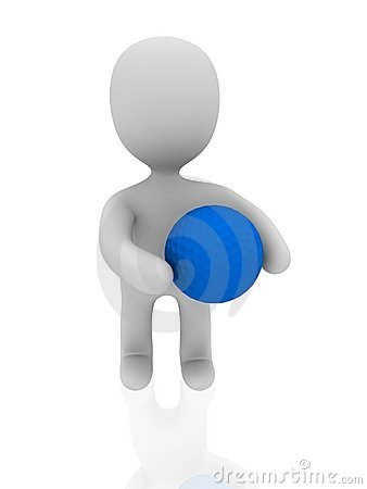 3d person with blue golf ball