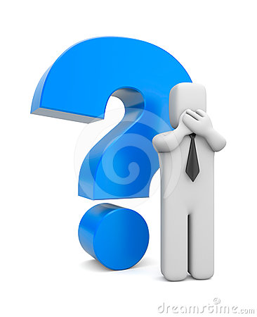 3d person businessman with blue question mark