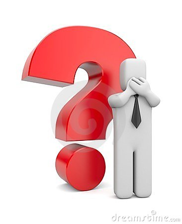 3d person businessman with red question mark