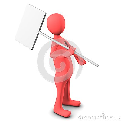 3d person, carry a blank board