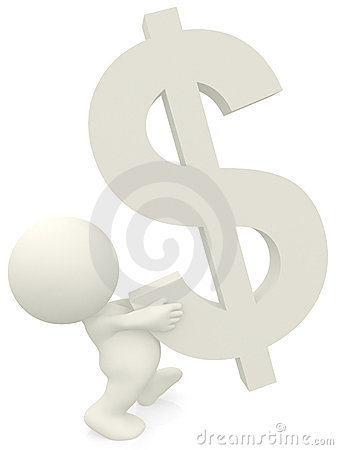3D person carrying a dollar sign