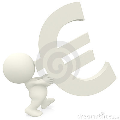 3D person carrying a euro sign