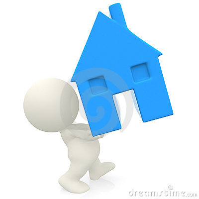 3D person carrying a house
